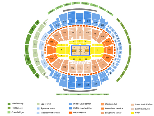 Sacramento Kings at New York Knicks Venue Map