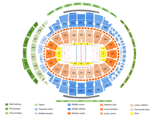 Detroit Red Wings at New York Rangers Venue Map