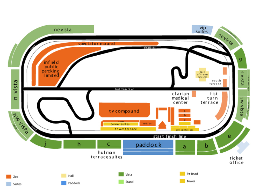 Indianapolis Motor Speedway seating map and tickets