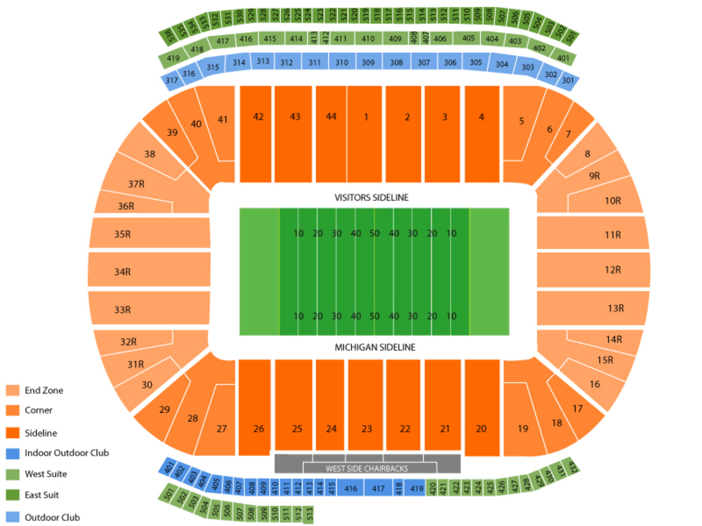 Penn State Nittany Lions at Michigan Wolverines Football Venue Map