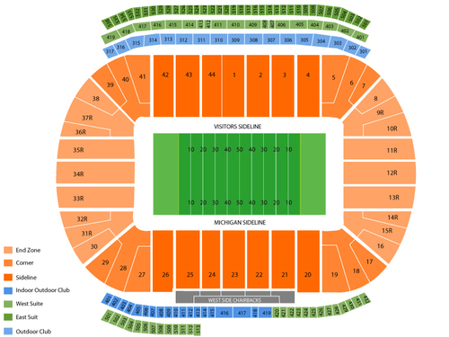 Notre Dame Fighting Irish at Michigan Wolverines Football Venue Map