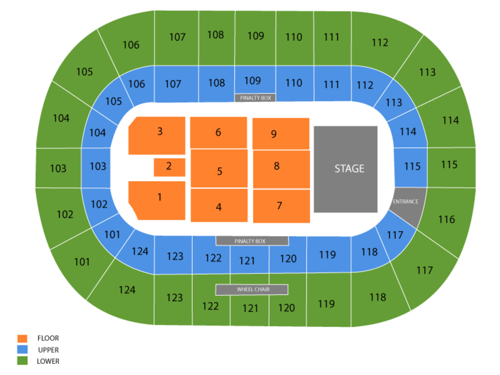 Seating Chart for End Stage Seating Chart at Mile One Centre