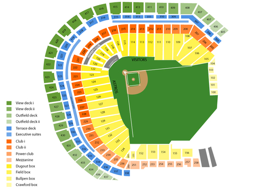 Oakland Athletics at Houston Astros Venue Map