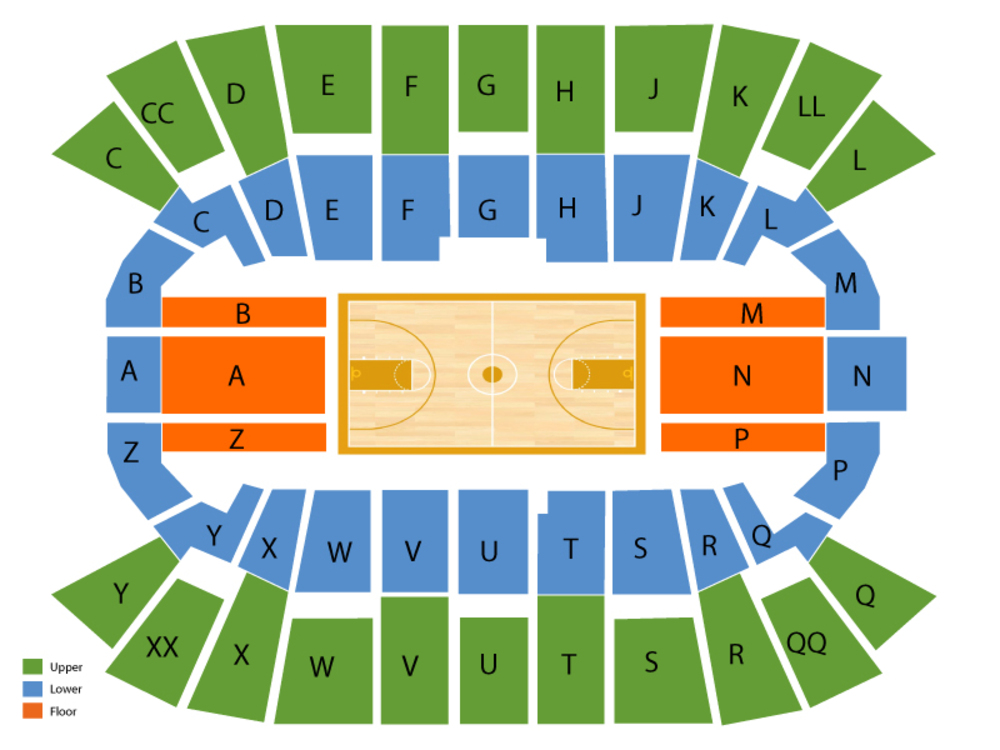 Mullins Center seating map and tickets