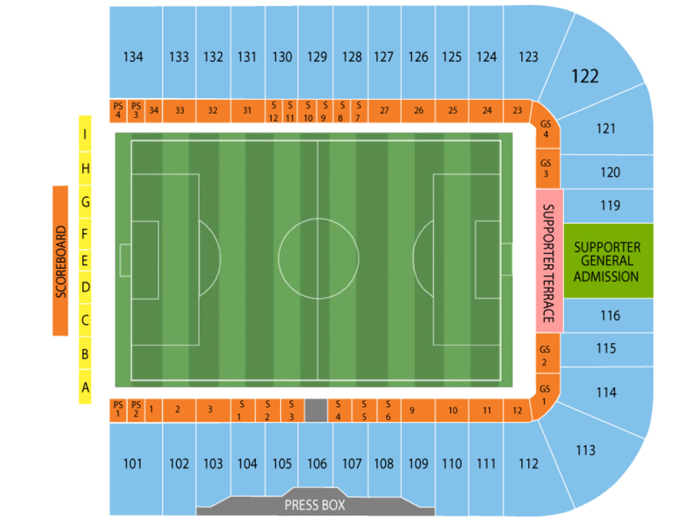 Seattle Sounders FC at San Jose Earthquakes Venue Map