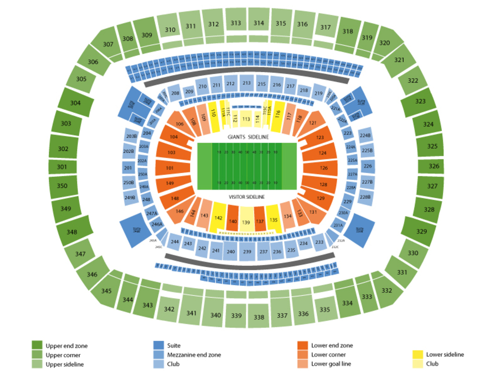 Preseason: New England Patriots at New York Giants Venue Map