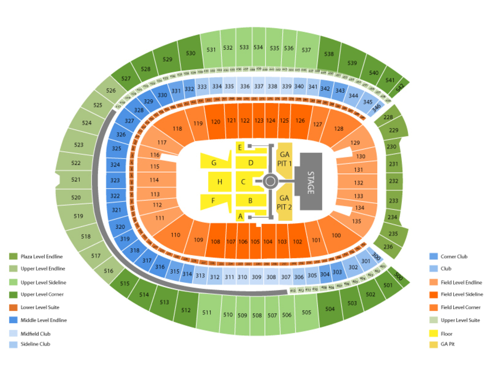 Luke Bryan with Sam Hunt and Jon Pardi Venue Map