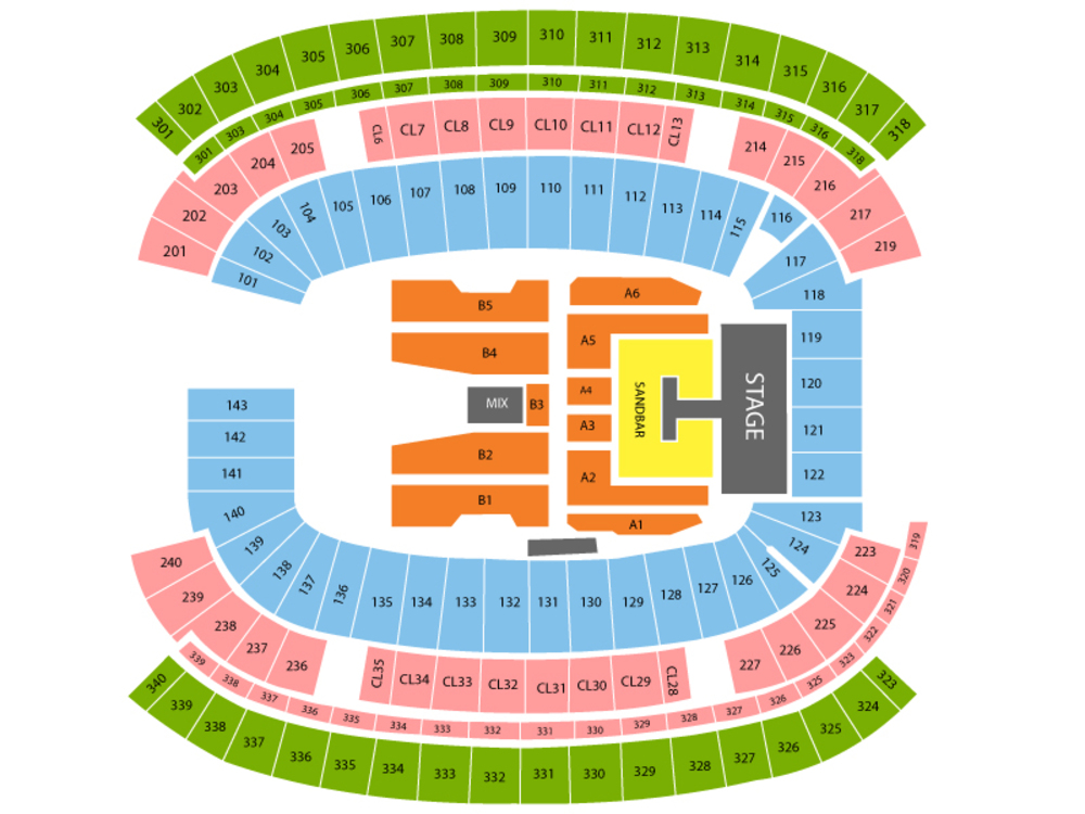 Kenny Chesney (Rescheduled from 08/29/2020) Venue Map