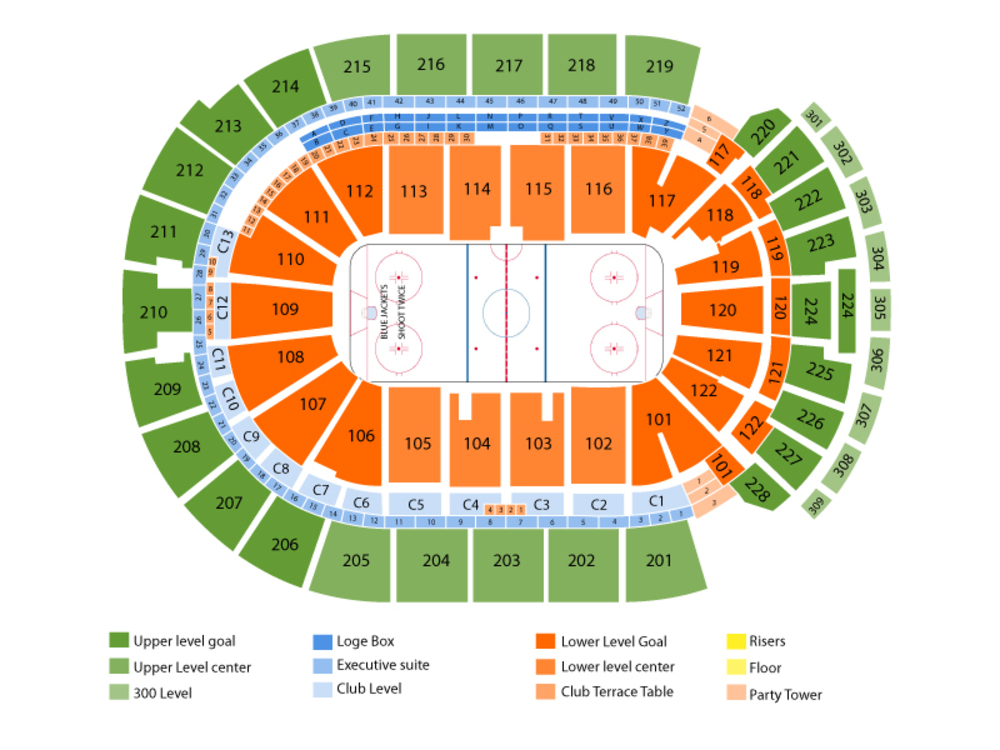 St. Louis Blues at Columbus Blue Jackets Venue Map