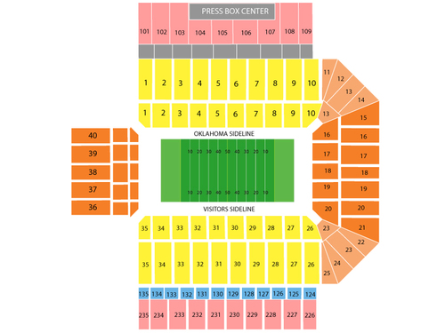 Texas Tech Red Raiders at Oklahoma Sooners Football Venue Map