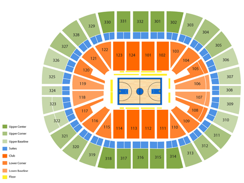 Dallas Mavericks at New Orleans Pelicans Venue Map