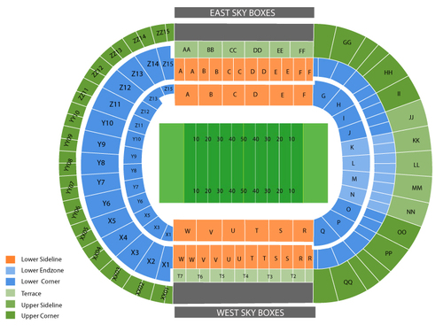 Vanderbilt Commodores at Tennessee Volunteers Football Venue Map