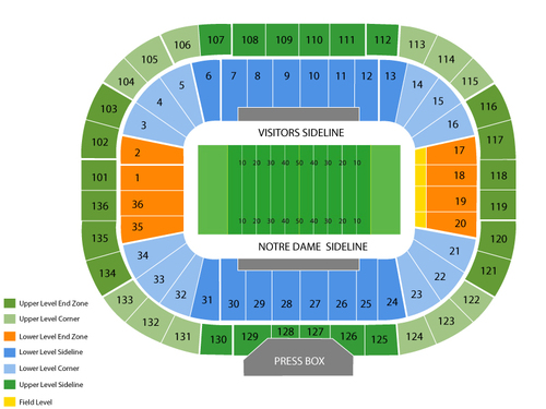 Louisville Cardinals at Notre Dame Fighting Irish Football Venue Map