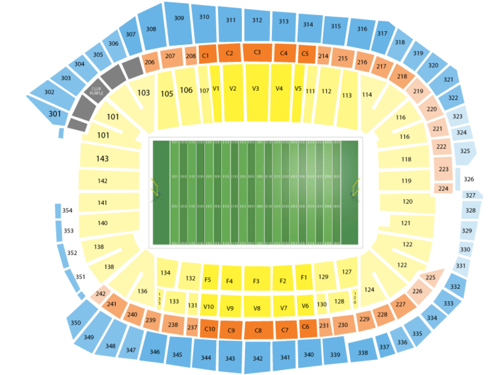 Los Angeles Rams at Minnesota Vikings Venue Map