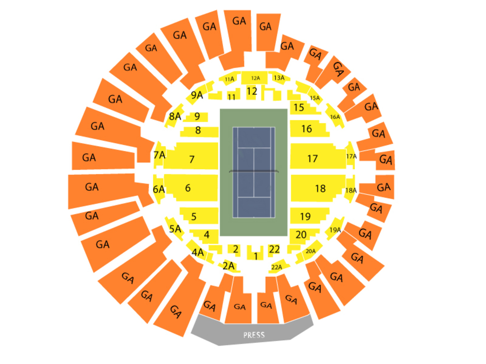 US Open Tennis Championship - Day Session (Grandstand Only) Venue Map