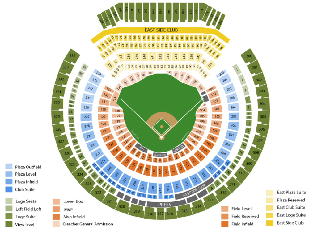 Texas Rangers at Oakland Athletics Venue Map