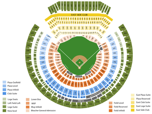 Toronto Blue Jays at Oakland Athletics Venue Map
