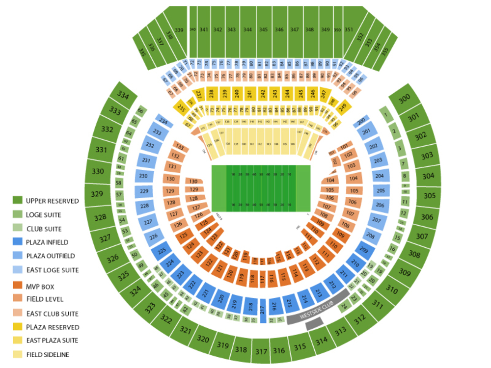 Denver Broncos at Oakland Raiders Venue Map