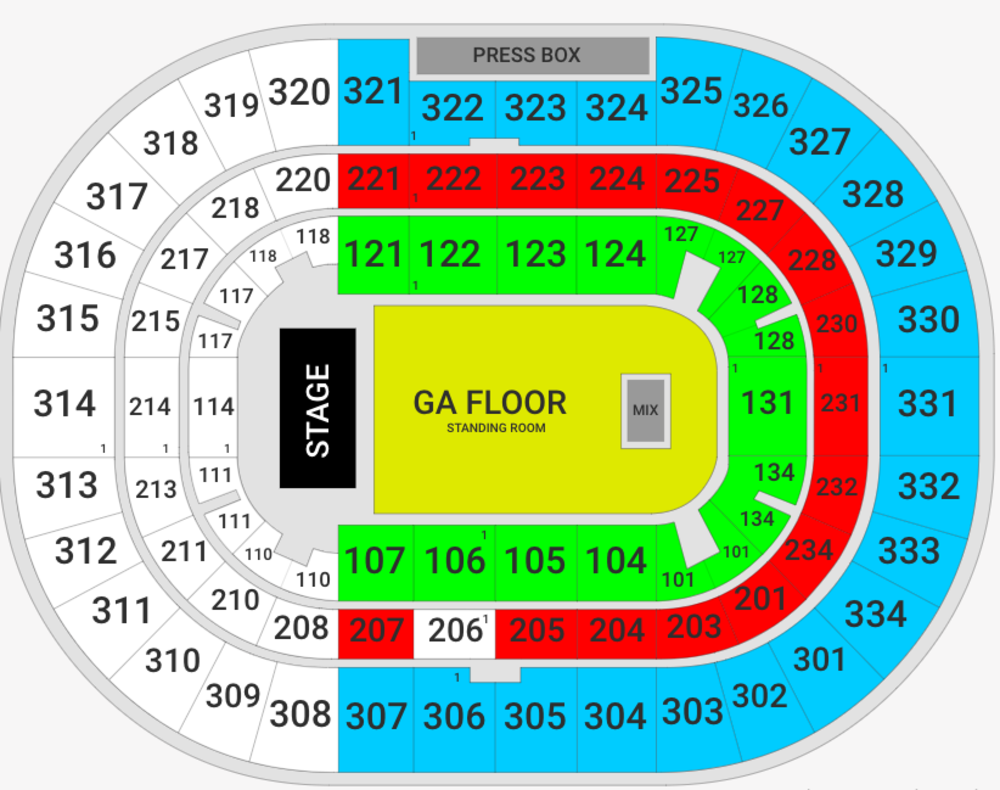 The Chainsmokers with 5 Seconds of Summer Venue Map