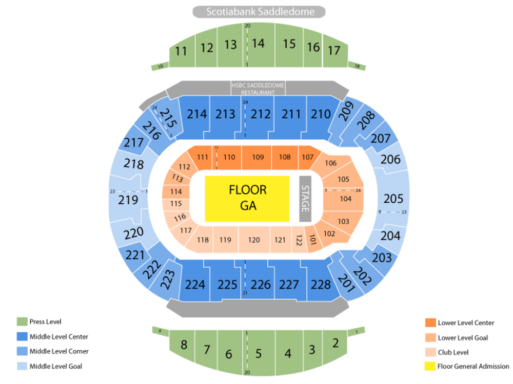 Seating Chart for End Stage Seating Chart at Scotiabank Saddledome