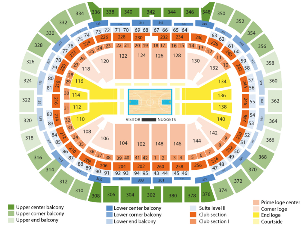 New Orleans Pelicans at Denver Nuggets Venue Map