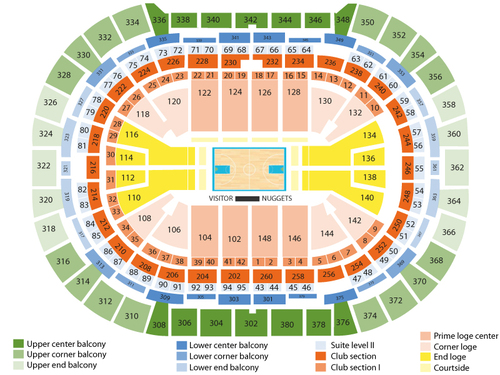 Charlotte Bobcats at Denver Nuggets Venue Map