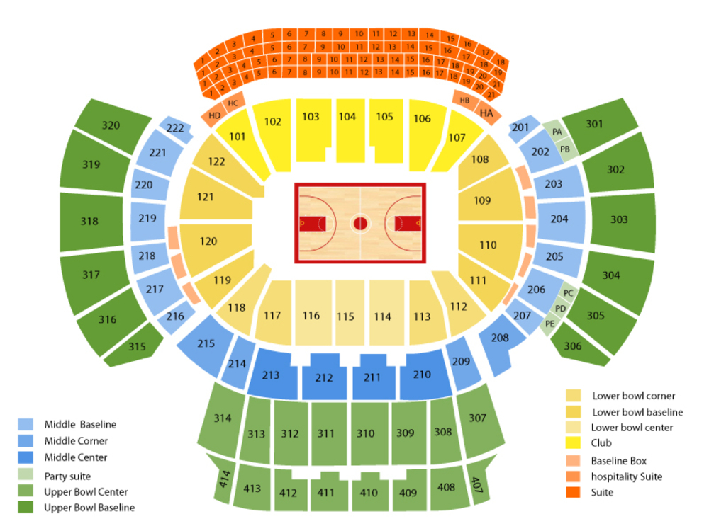 Charlotte Hornets at Atlanta Hawks Venue Map