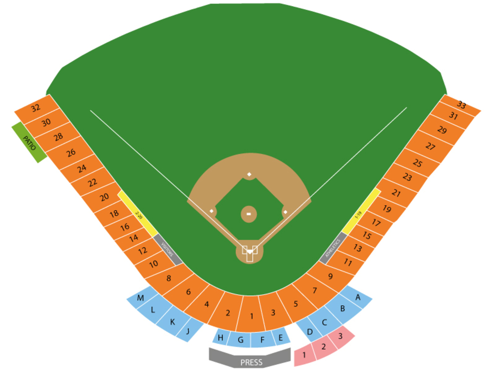 Seating Chart for Baseball Seating Chart at Phoenix Municipal Stadium