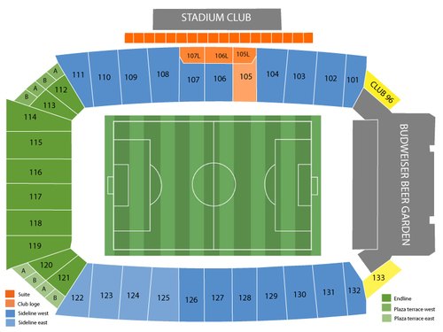 Vancouver Whitecaps FC at FC Dallas Venue Map