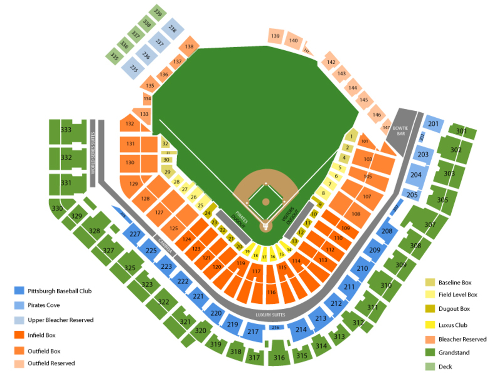Chicago Cubs at Pittsburgh Pirates Venue Map