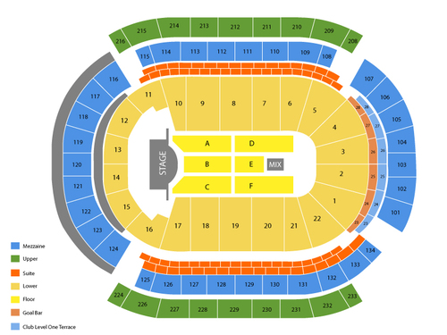 Rod Stewart and Steve Winwood Venue Map