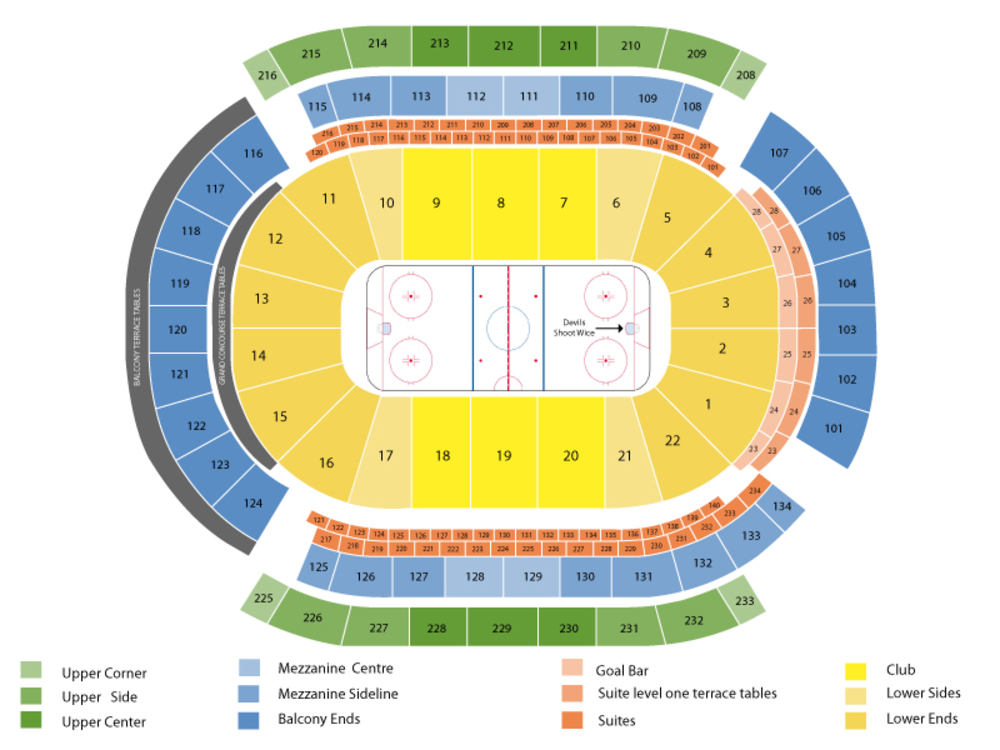 Vancouver Canucks at New Jersey Devils Venue Map
