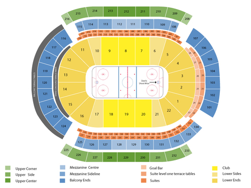 Detroit Red Wings at New Jersey Devils Venue Map