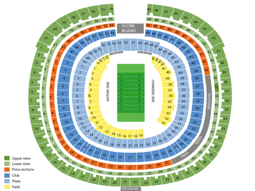 Oakland Raiders at San Diego Chargers Venue Map