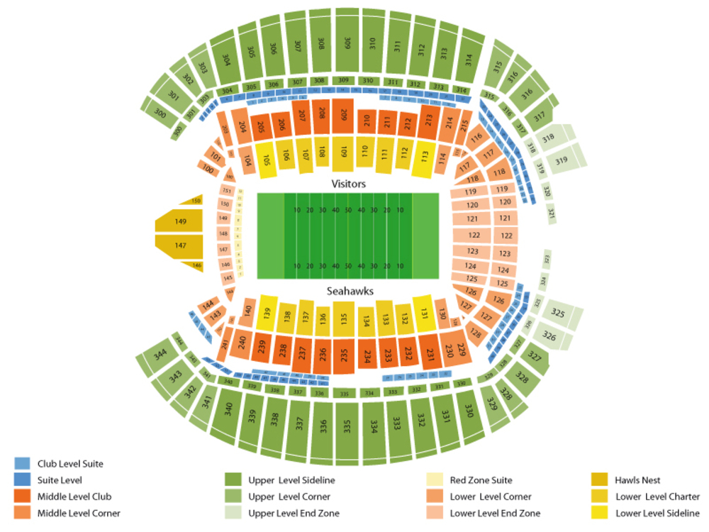 Washington Redskins at Seattle Seahawks Venue Map