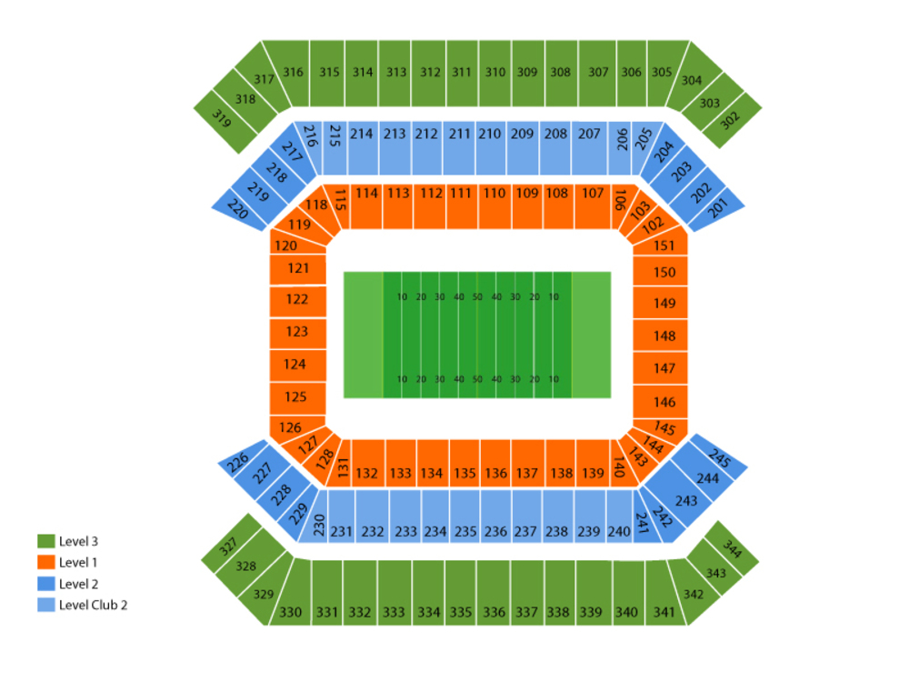Seating Chart for Football Seating Chart at Raymond James Stadium