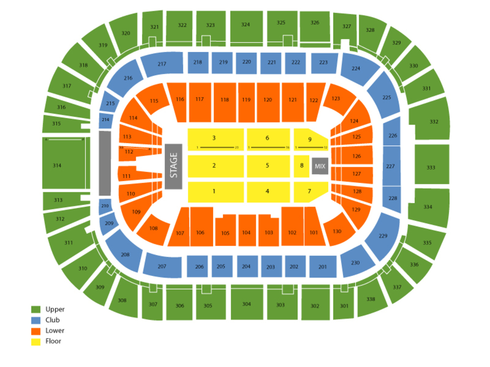Seating Chart for End Stage Seating Chart at RBC Center