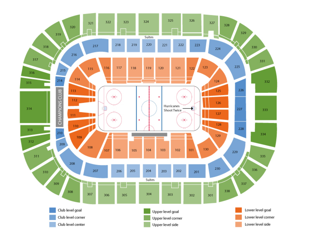 Colorado Avalanche at Carolina Hurricanes Venue Map