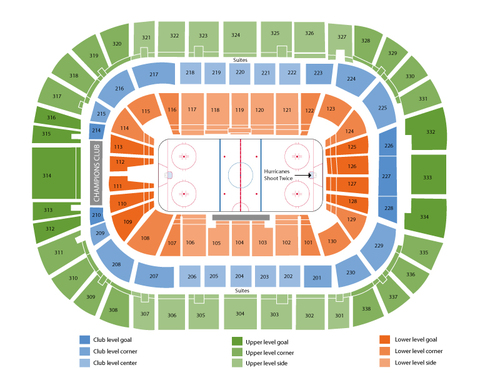 Nashville Predators at Carolina Hurricanes Venue Map