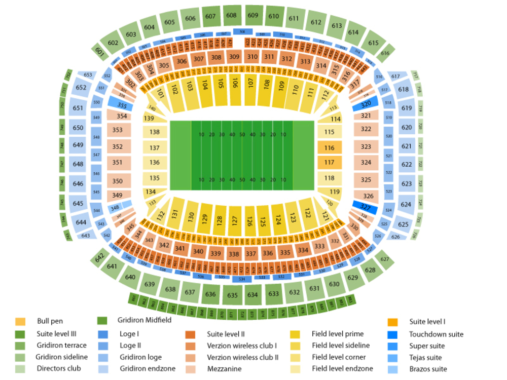 NFL Preseason: Dallas Cowboys at Houston Texans Venue Map