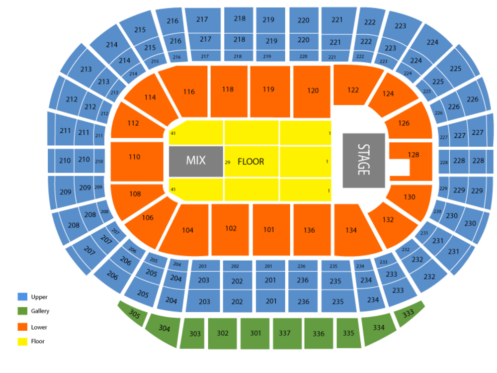 Seating Chart for End Stage Seating Chart at Rexall Place