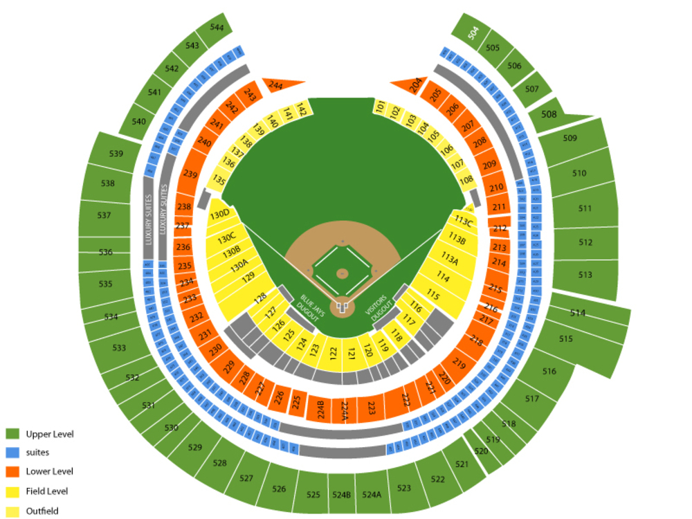 Los Angeles Angels at Toronto Blue Jays Venue Map