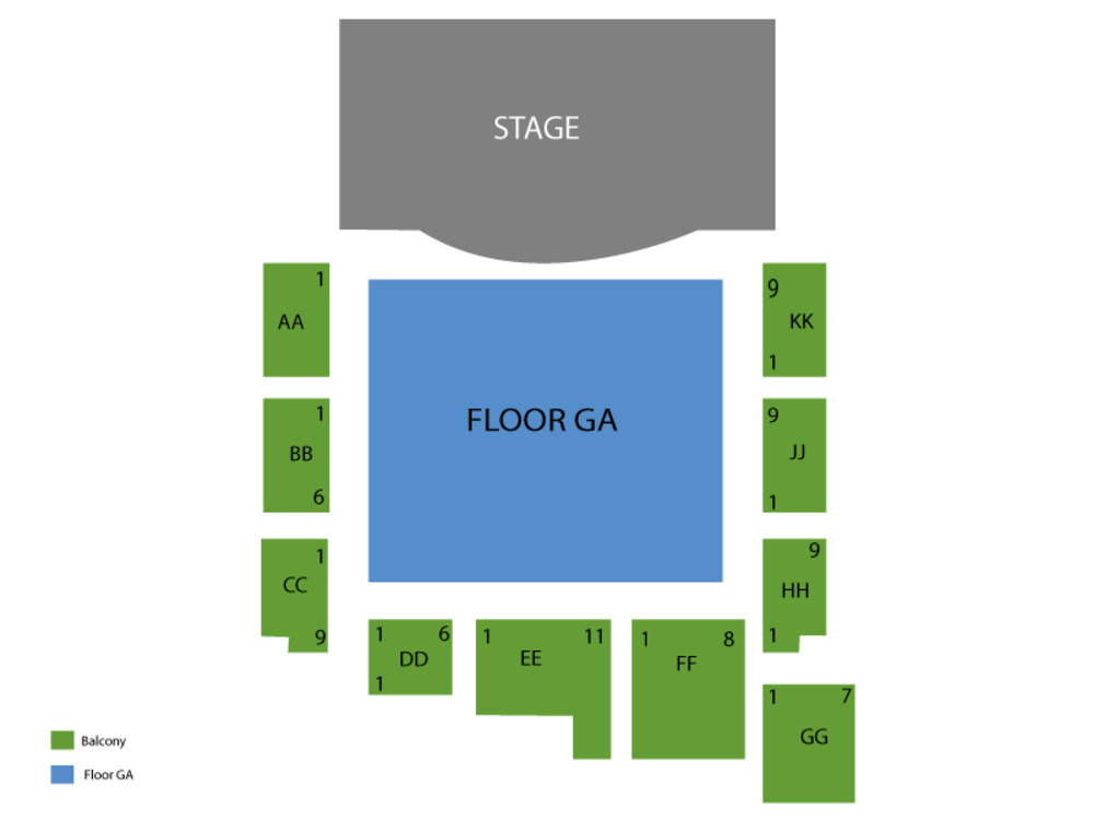 Blue October (Rescheduled from 06/12/2020) Venue Map