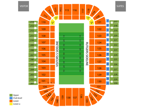 Houston Cougars at Rutgers Scarlet Knights Football Venue Map