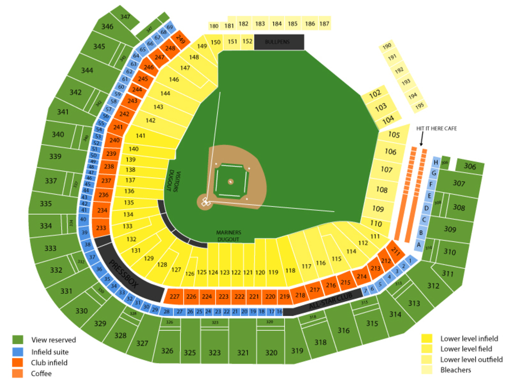 Oakland Athletics at Seattle Mariners Venue Map
