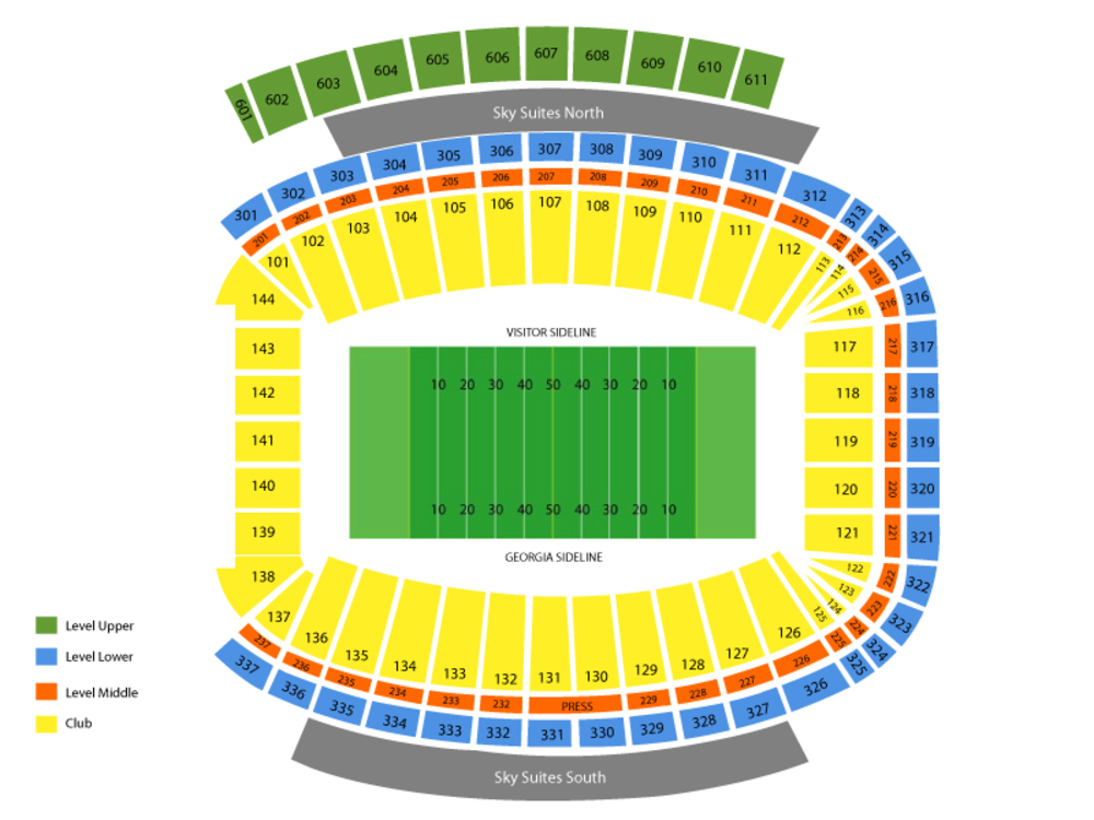 Georgia Tech Yellow Jackets at Georgia Bulldogs Football Venue Map