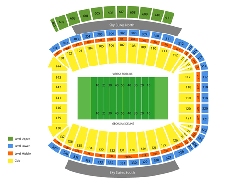 Missouri Tigers at Georgia Bulldogs Football Venue Map