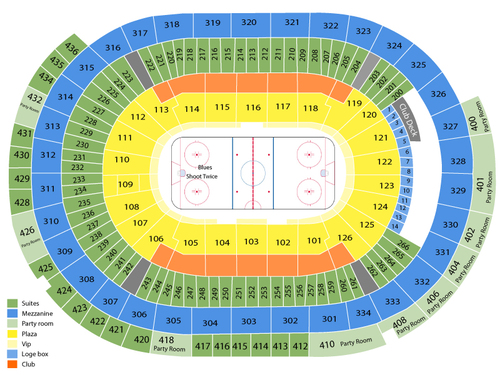 Anaheim Ducks at St. Louis Blues Venue Map