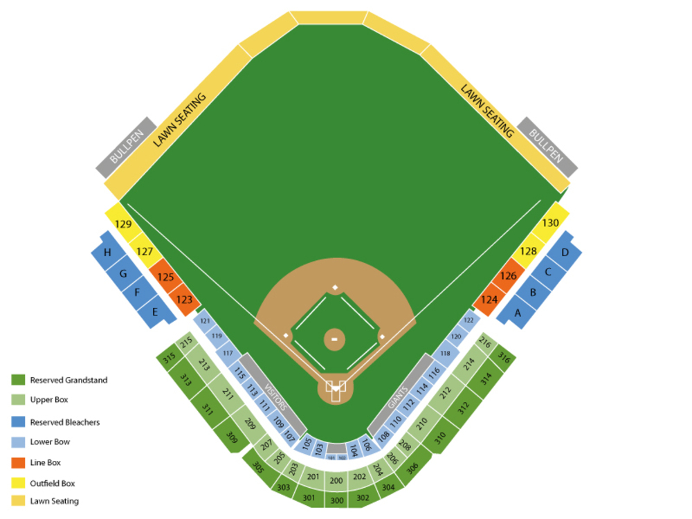 Spring Training: Texas Rangers at San Francisco Giants (SS) Venue Map