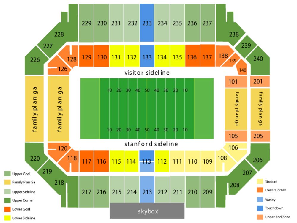 Stanford Stadium seating map and tickets